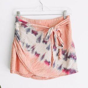 FREE PEOPLE | tie dye boho mini skirt Muslin cloth